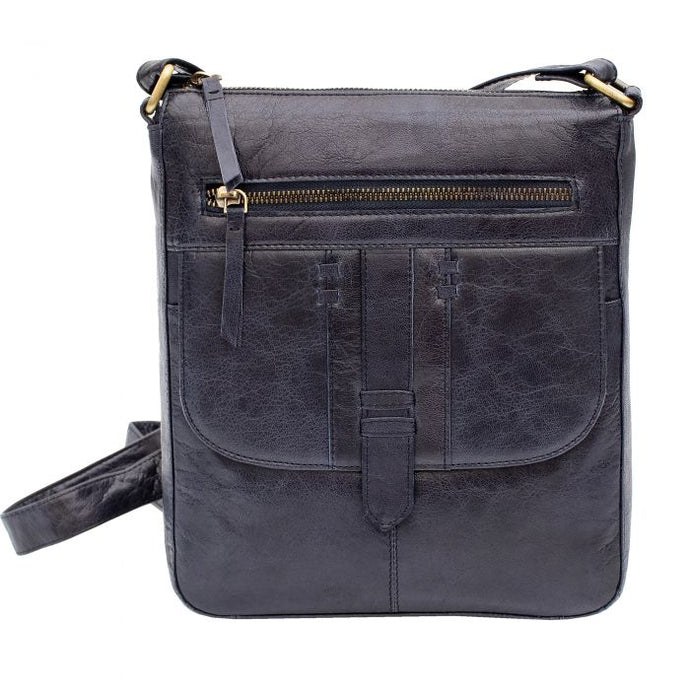 Ladies Navy Crossbody Leather Bag