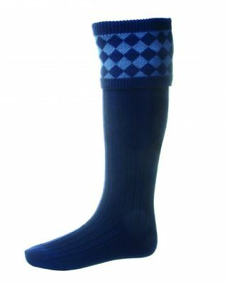 House of Cheviot Chessboard Socks - Navy