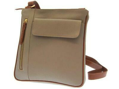 Rowallan Taupe/Tan Leather Top Zip Shoulder Bag