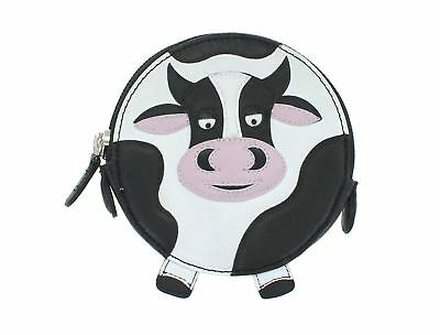 Leather Cow Design Round Purse