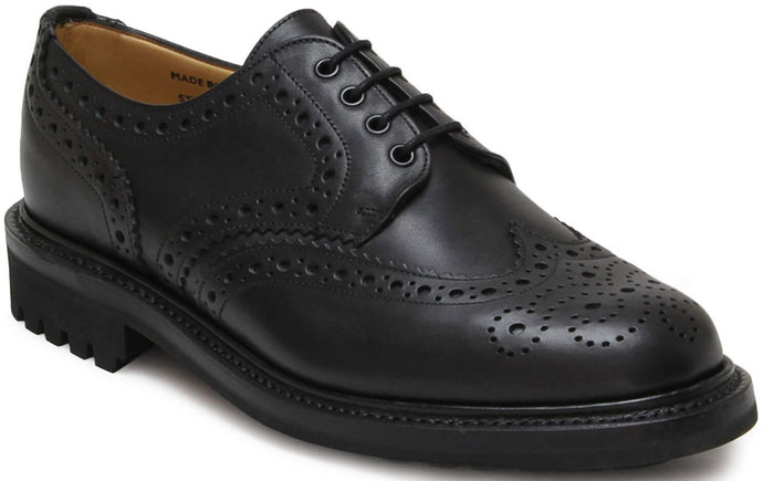 Sanders Waxy Black Derby Brogue Shoes
