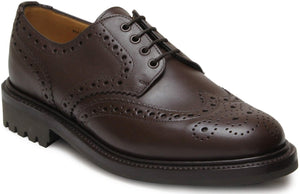 Sanders Waxy Chocolate Derby Brogue Shoes