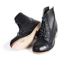 Handmade Town and Country Black Leather  Boots