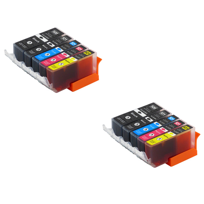 Compatible Canon PGI-520/CLI-521XL High Capacity Ink Cartridge Multipack (2 Sets)