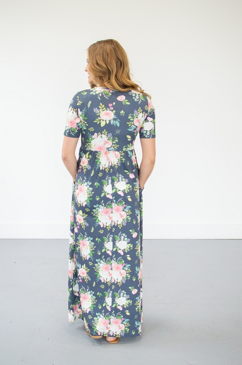 Short Sleeve Steel Blue Floral Maxi with Pockets (Nursing Friendly Option)
