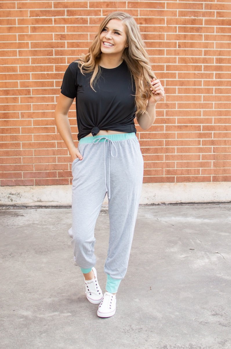 Heather Grey & Teal Accent Joggers