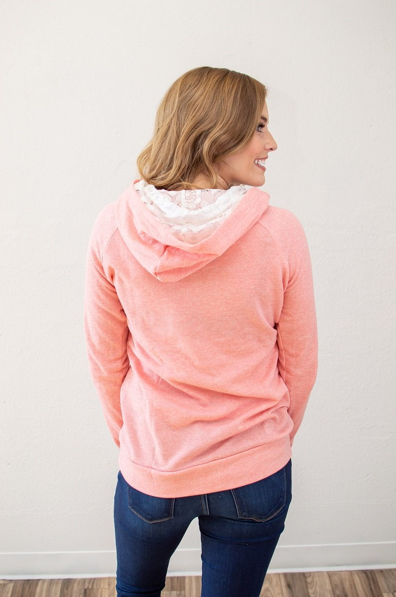 Pretty in Pink Lace Accented Hoodie (Nursing Friendly Option)