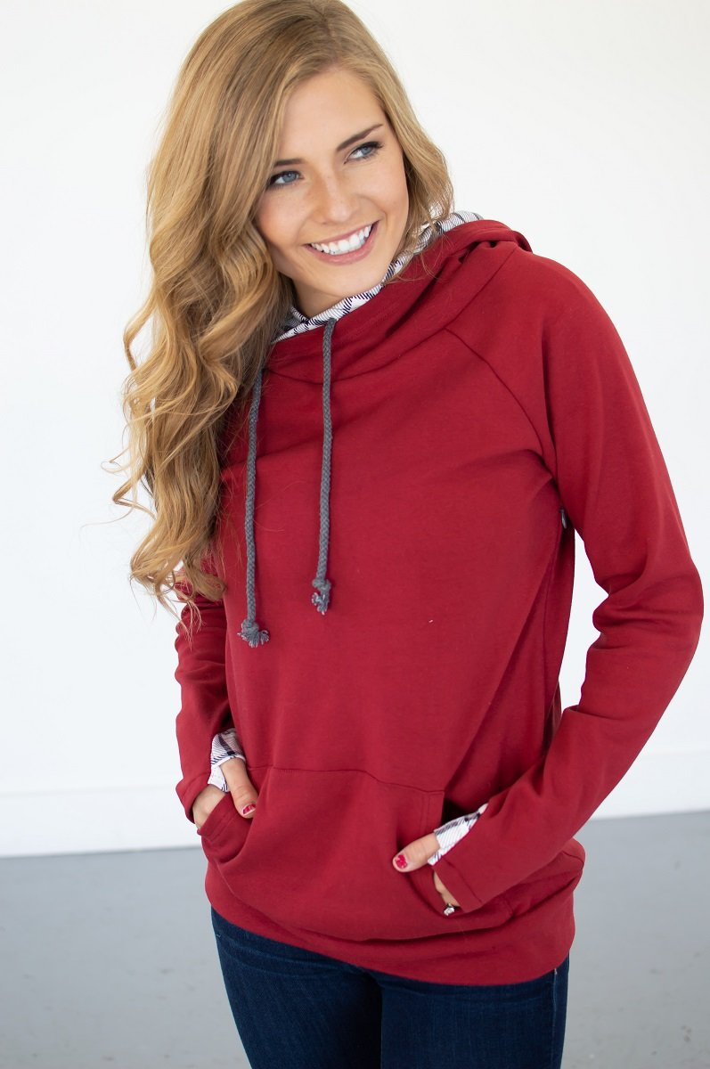 Cranberry Plaid Women's Hoodie (Nursing Friendly Option)