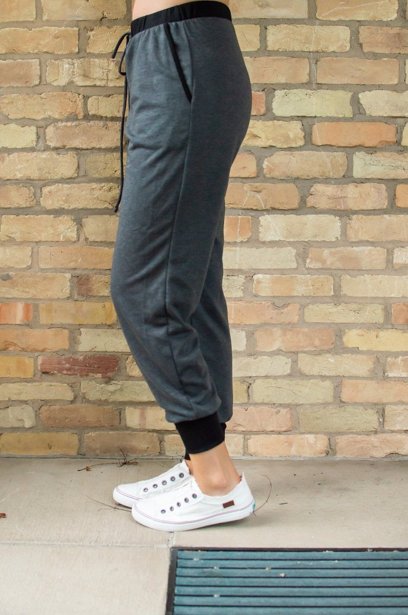 Charcoal and Black Accent Joggers