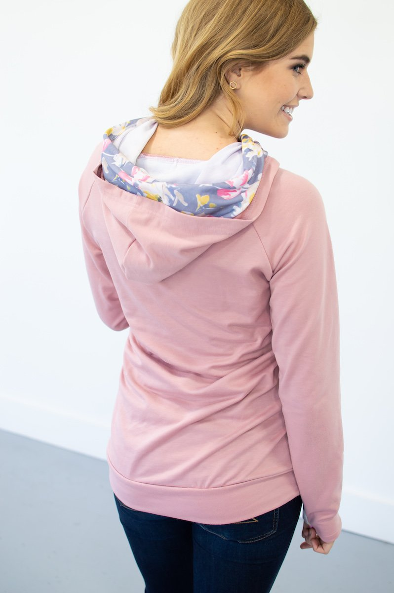Blush Floral Accented Hoodie (Nursing Friendly Option)