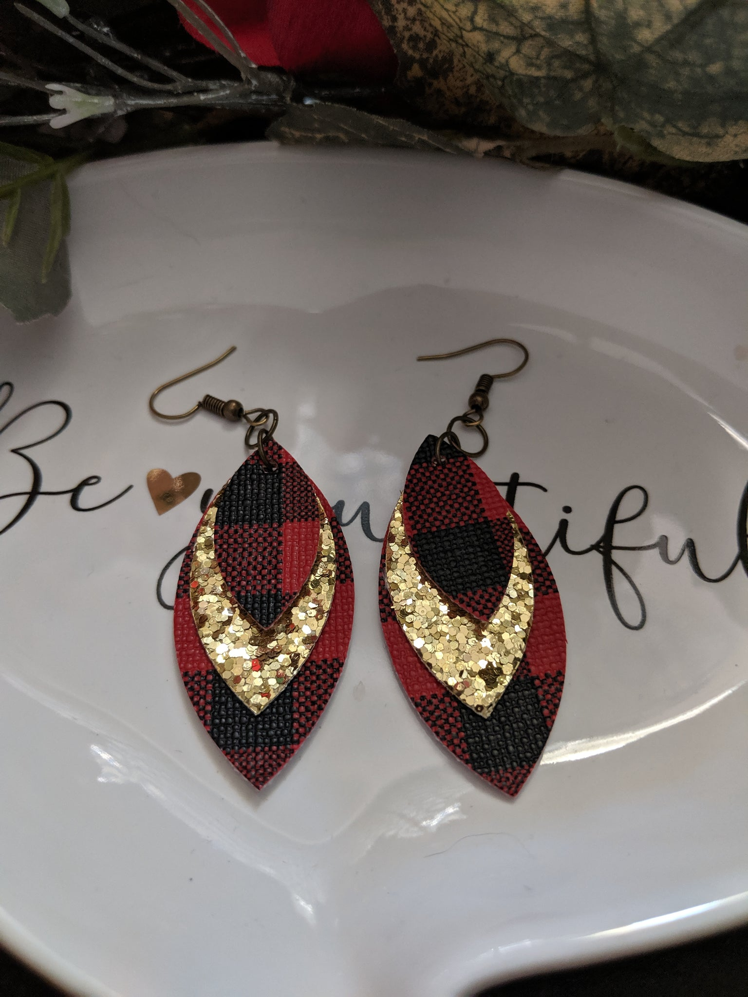 Triple Layer Glitter Canvas & Faux Leather Earrings