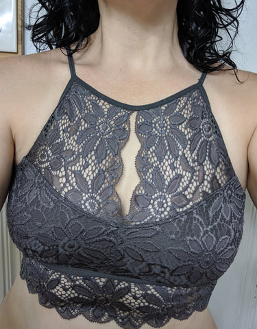 Lace High Neckline with Cut Out Back Bralette