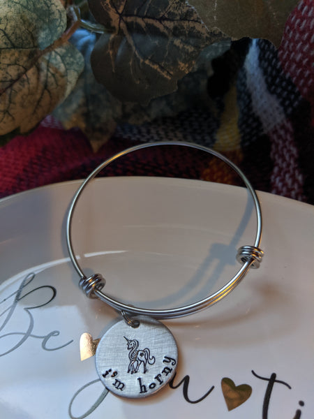 Hand Stamped Unicorn Bangle Bracelet