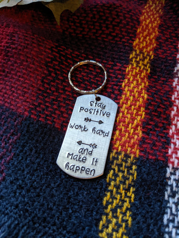 Hand Stamped Dog Tag Keychain