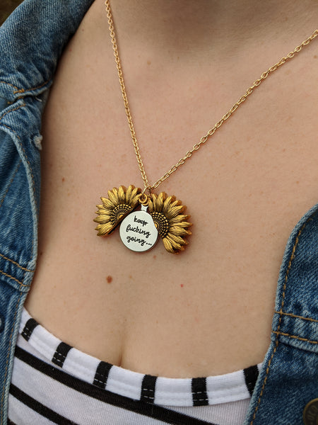 Sunflower Open Charm Necklace