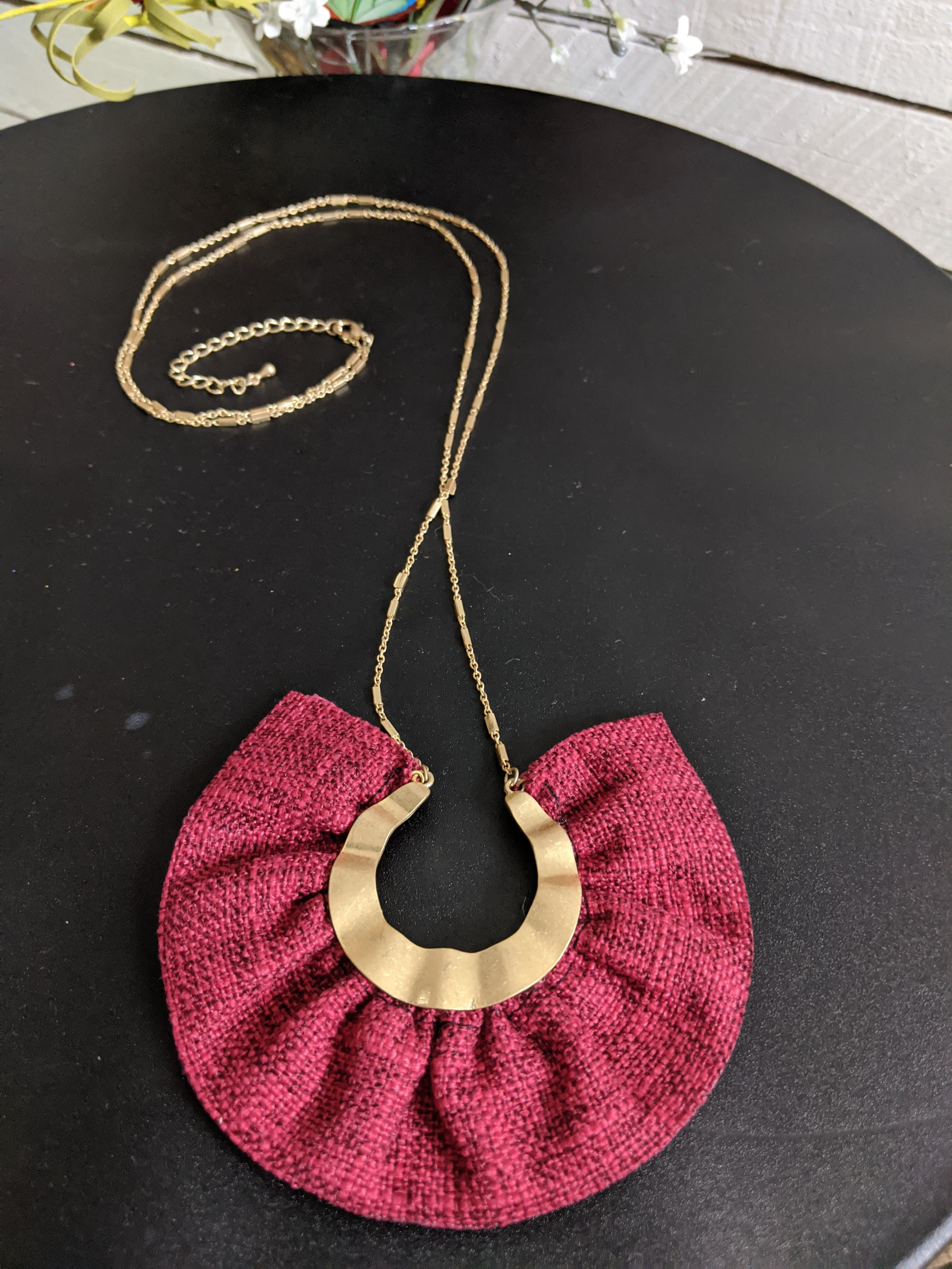 Statement Fabric & Gold Accent Necklace
