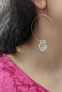 Quartz Crystal Gold Wire Wrapped Hoops