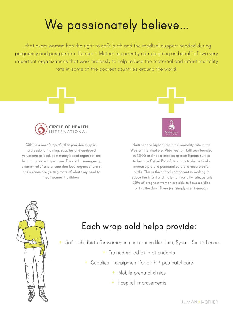 HUMAN + MOTHER Baby Wrap Charity Information