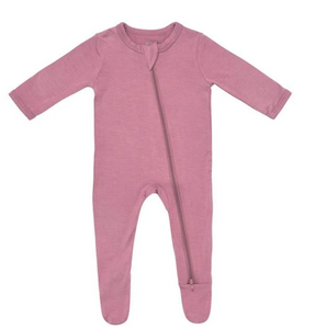 Earth Baby Bamboo Zip up Footie - Dusty Rose