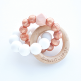 Loulou Lollipop Silicone & Wood Trinity Teether Rose Gold