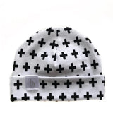Tiny Sprigs Baby Hat Black Crosses