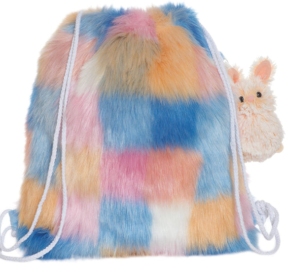 Fuzzy Drawstring Back Pack with Bunny Clip