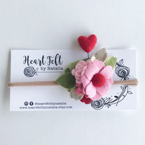 Heart Felt by Natalia Mini Heart Headband pink