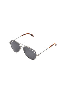 Givenchy - Iconic Aviator Crystal Sunglasses - 099361 - GV7057N - Silver
