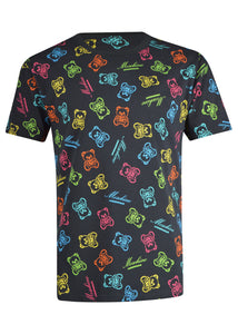 Moschino - Multiprint Moschino Neon Teddy Bear T-Shirt - 200052 - Black