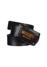 Moschino - Leather Belt With Iconic Gold Moschino Milano Buckle - 100031 - A80108001 - Black Gold