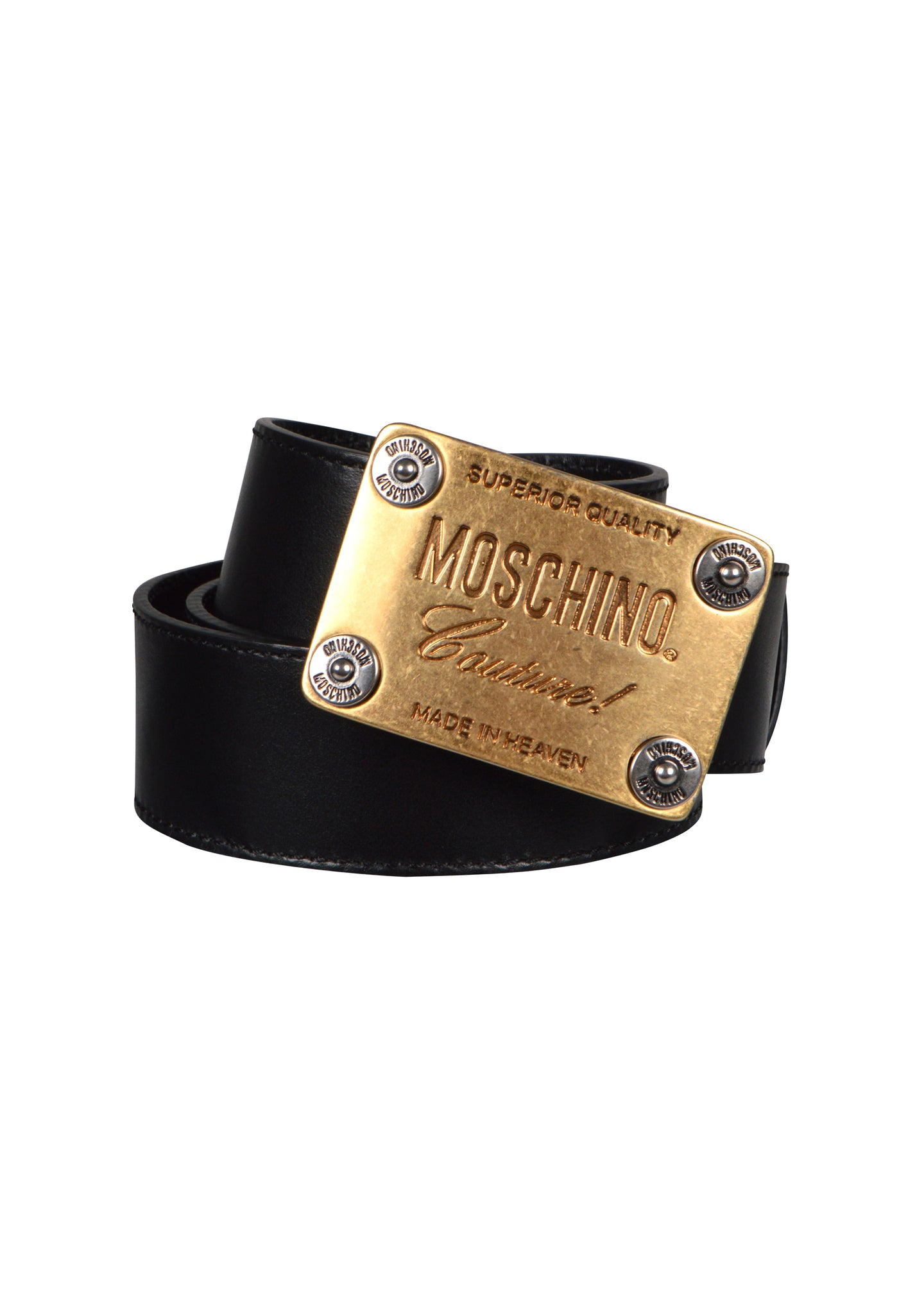 Moschino - Gold Plaque Buckle Moschino Couture Logo Leather Belt - A8011 - 099173 -Black