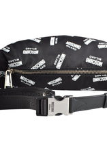 Moschino - All-Over Print Moschino Milano With Leather Details Bum Bag - 097170 - Black White