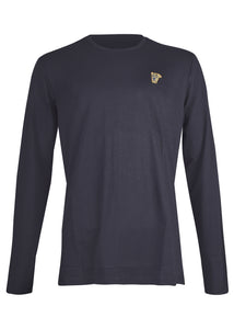 Versace Collection - Classic Long Sleeve Iconic Half Medusa T-Shirt - 097001 - V800491R - Navy Gold