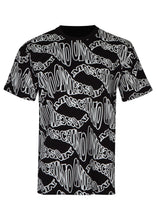 Moschino - Warp Wave All Over Print Crewneck T-Shirt - 100014 - A07097040 - Black