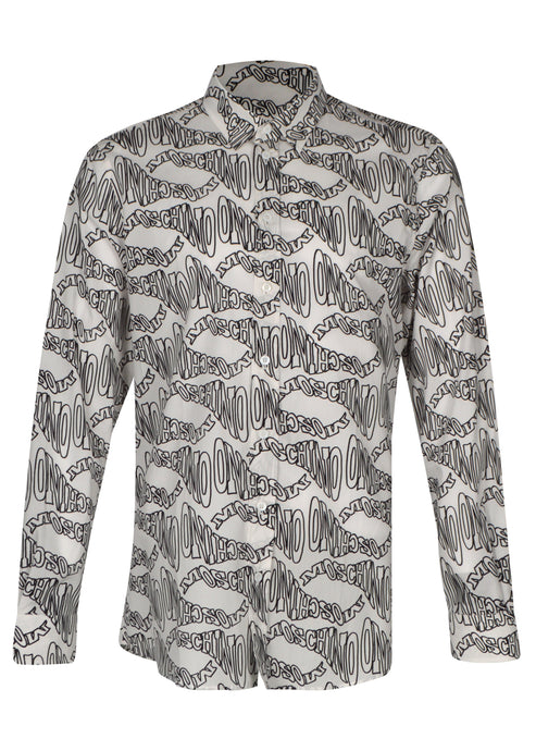 Moschino- Warp Wave All over Print Long Sleeved  Shirt A02187055- White