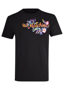 Moschino - Hawaiian Flowers Moschino Logo T-Shirt - 200058 - Black