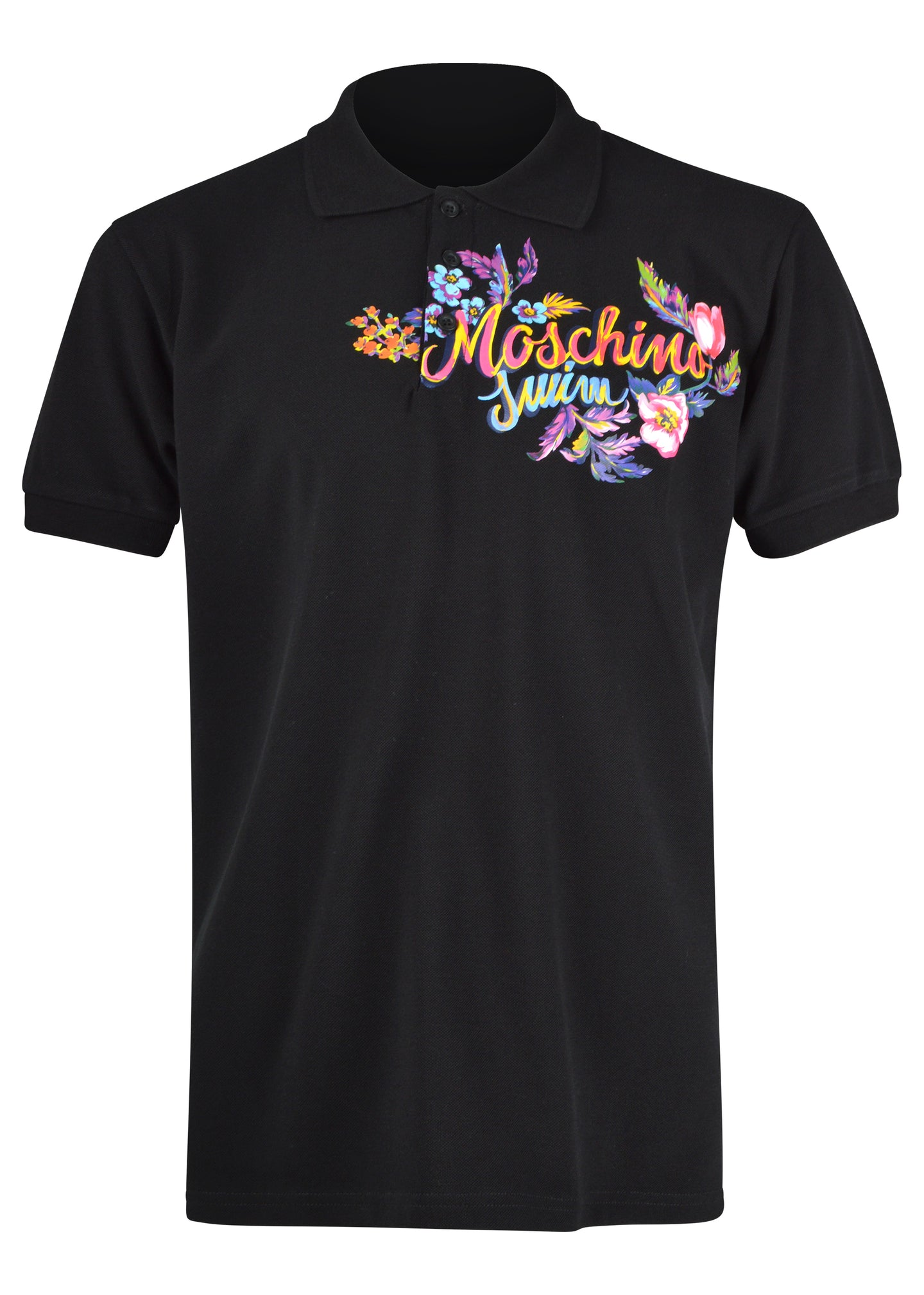 Moschino - Hawaiian Flowers Moschino Logo Polo Shirt - 200057 - Black