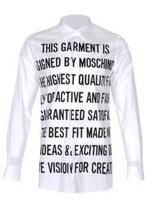 Moschino - Stretch Long Sleeved Shirt Statement Print - 100012 - A02027035 - White