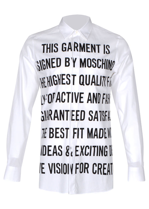 Moschino - Stretch Long Sleeved Shirt Statement Print - A02027035 - White