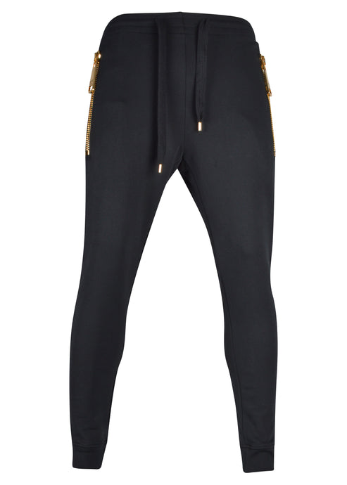 Moschino - Joggers Jeremy Scott Moschino Couture Heavy Chunky Oversized Gold Zips - Black
