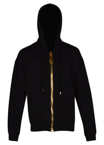 Moschino - Oversized Heavy Gold Finish Zip Hood Track jacket - J17095227 - Black Gold