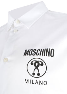 Moschino Couture - Slim Fit Stretch Cotton Long Sleeve Shirt Moschino Milano Question Mark Logo Chest - 200005 - White