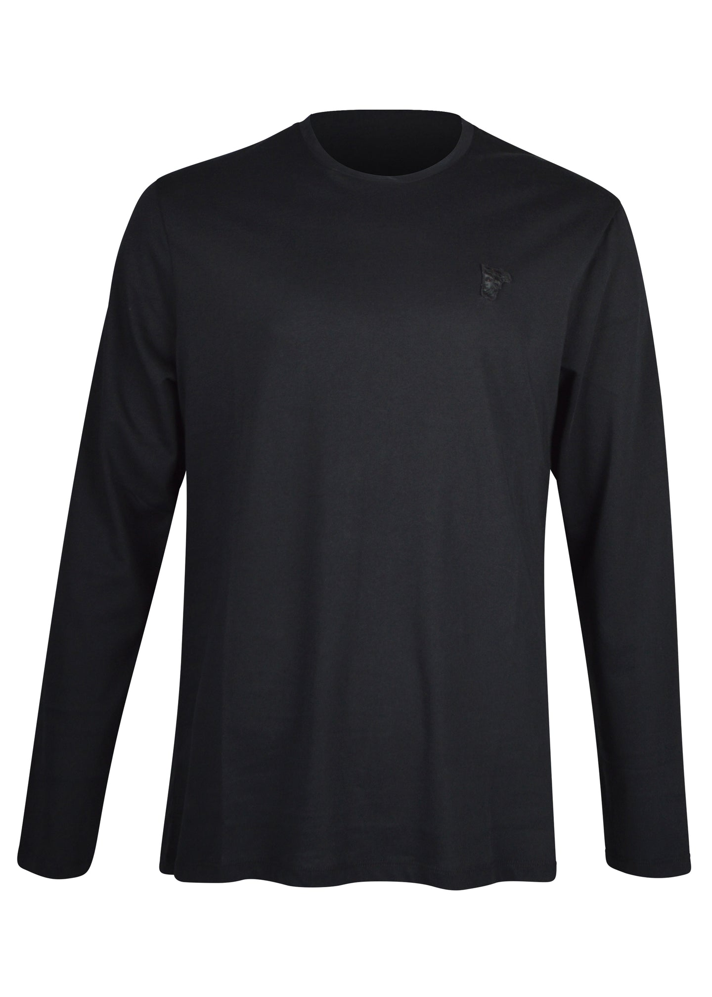 Versace Collection - Classic Long Sleeve Iconic Half Medusa T-Shirt - V800491R - Black Black
