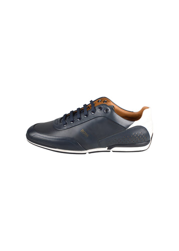 Hugo Boss - Saturn Low Leather Trainer - 100096 - Navy