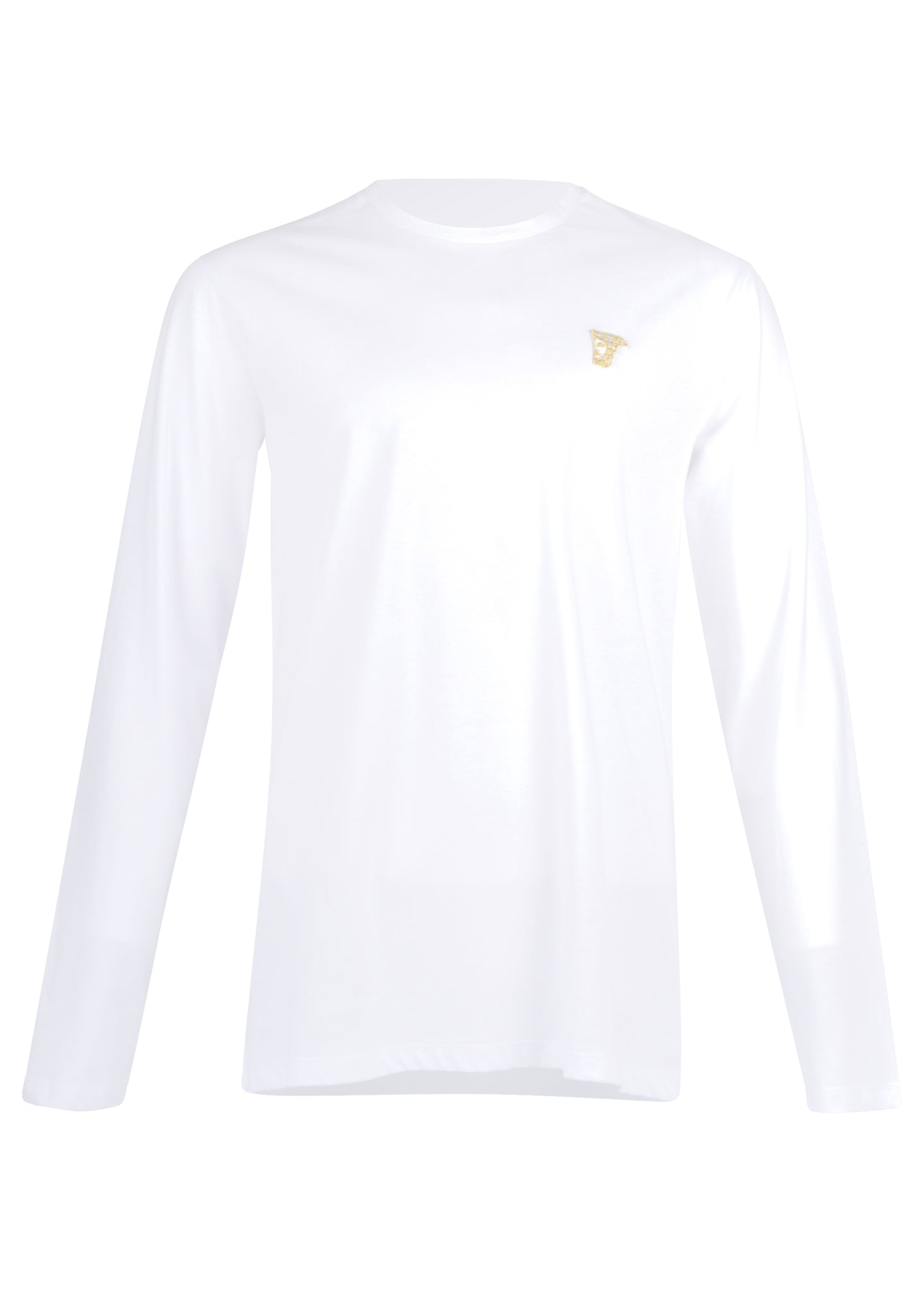 Versace Collection - Classic Long Sleeve Iconic Half Medusa T-Shirt - 097001 - V800491R - White Gold