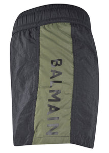Balmain- Contrast Panel Logo Swim Shorts - 099027 - BRB550170 - Black