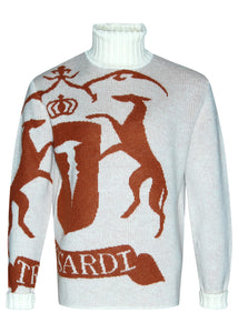 Trussardi -Wool mohair jacquard polo neck pullover Crest - Cream