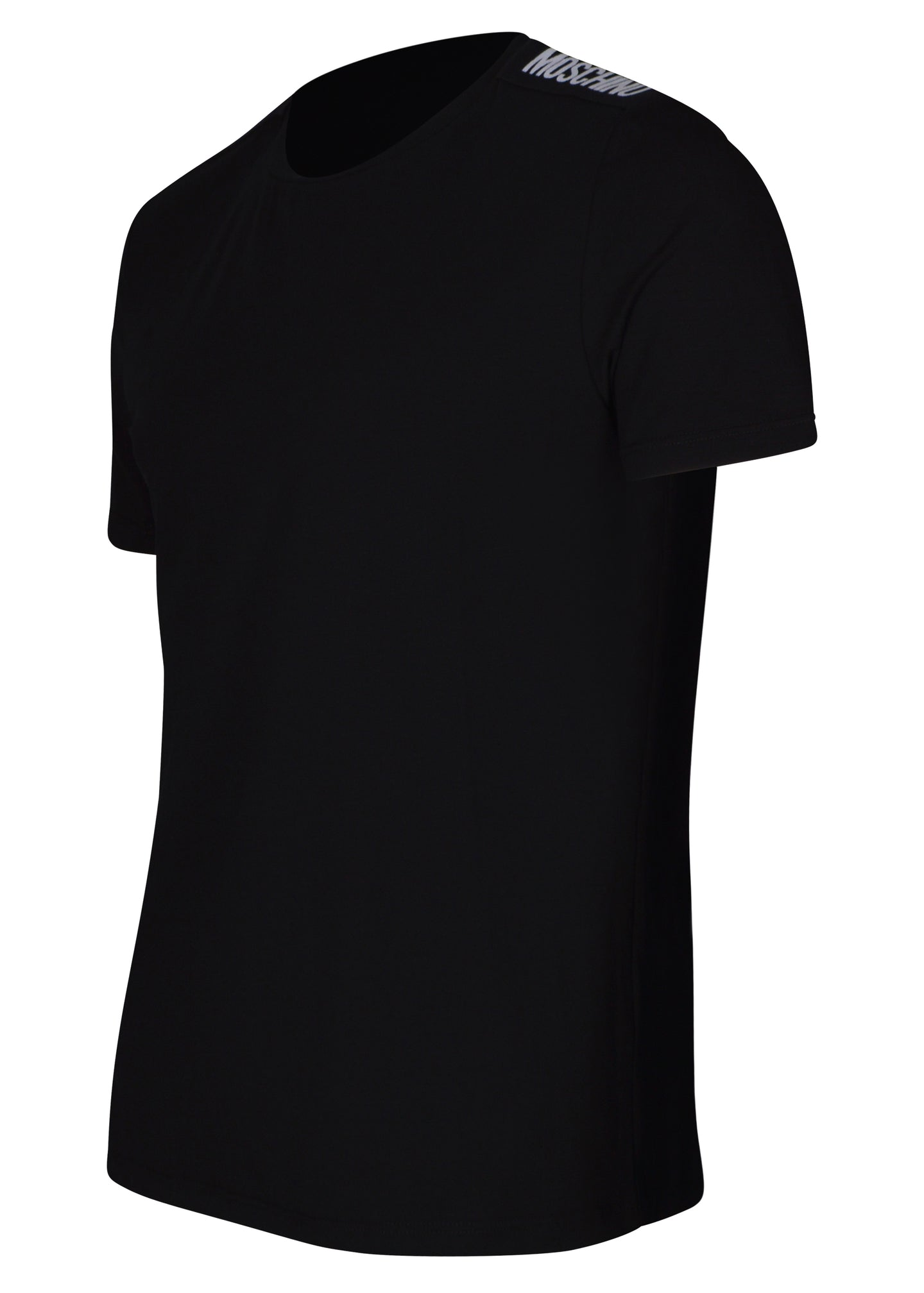 Moschino - Crewneck T-Shirt Monochrome Tape Shoulder Detail - 100115 - MA1921 - Black