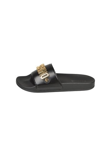 Moschino - Pool Sliders Heavy Metal MOSCHINO Gold Lettering on strap - 100050 - MB28032G0BG - Black Gold