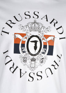 Trussardi- Crewneck T Shirt  The heraldic reworking of the monogram logo- White